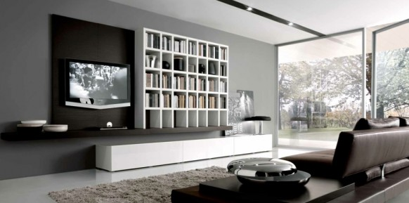 18 modern style living rooms from misuraemme - Deco salon salle a manger gris ...