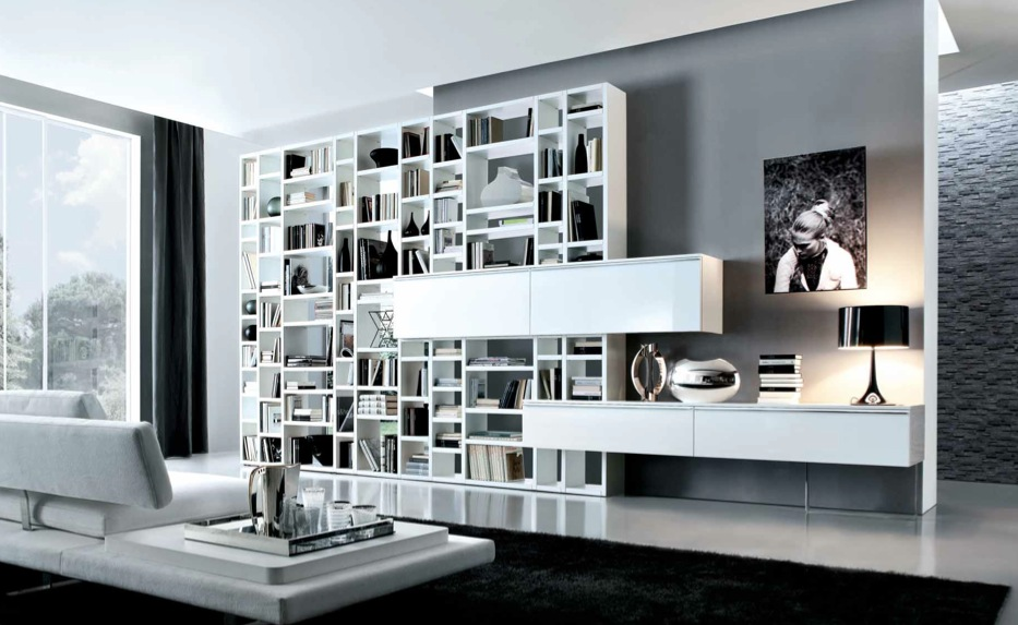 White Grey Contemporary Living Spaces Built Ins