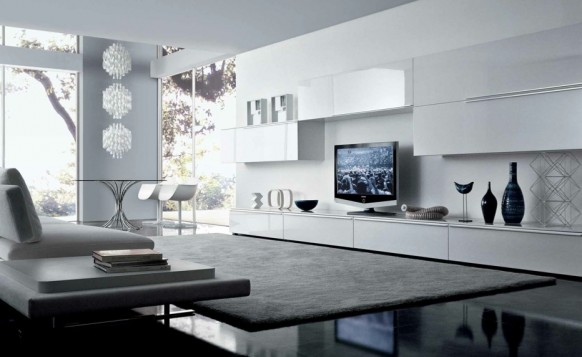 white sleek contemporary living spaces built ins