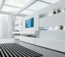 white striking minimalist contemporary living spaces built ins
