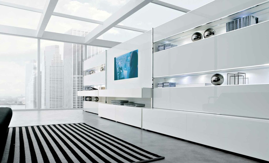 White Striking Minimalist Contemporary Living Spaces Built Ins Part 74