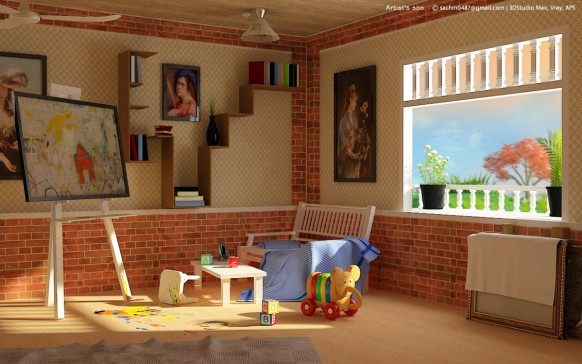 young art playroom feature brick