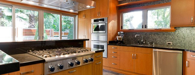 big brown modular kitchen