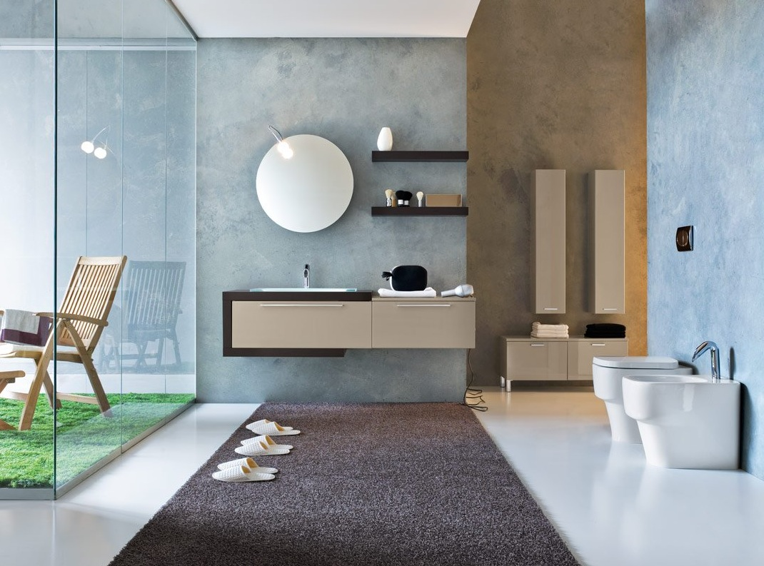 Beautiful modern bathrooms - Blue Biege Bathroom