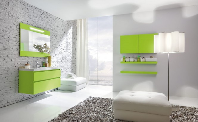 flourescent green bathroom