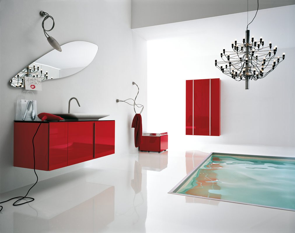 Awesome modern bathrooms - White Red Bathroom Floor Tub