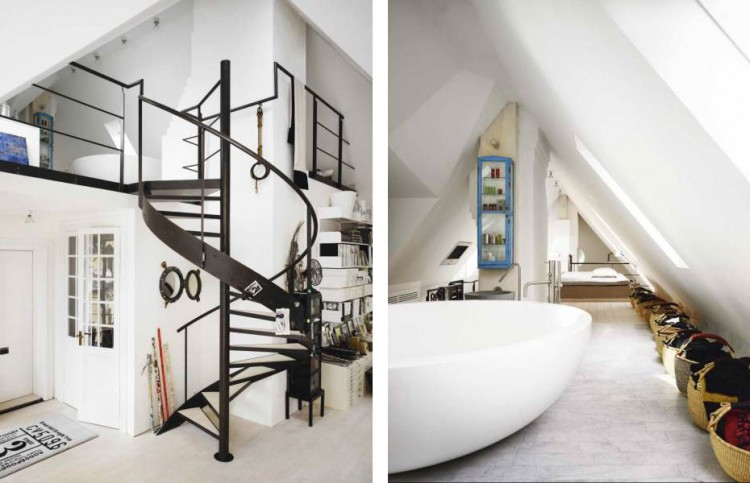 Entry Spiral Staircase And Incredible Free Standing Bath