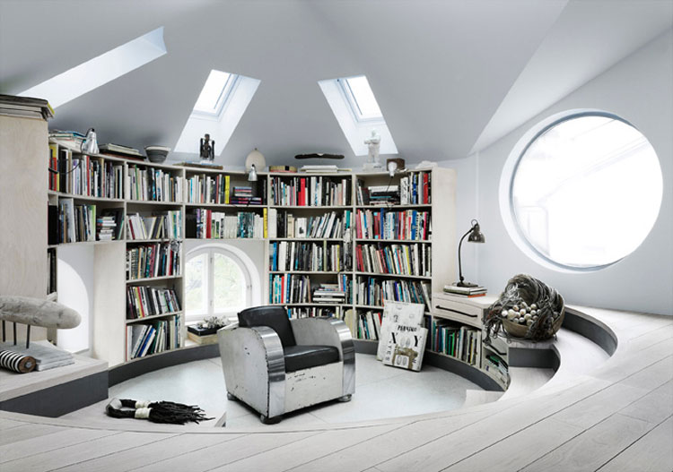 Stepped down libraryand Le Corbusier chair | Interior Design Ideas.