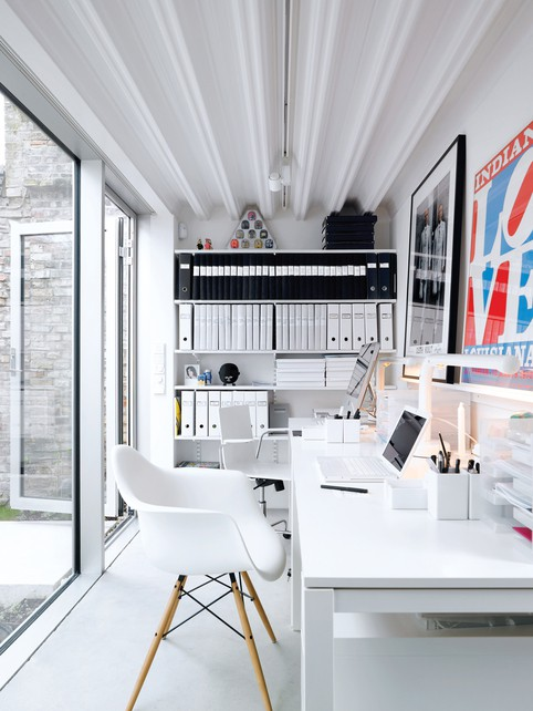 black white workspace