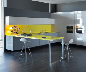 2 yellow feature kitchen