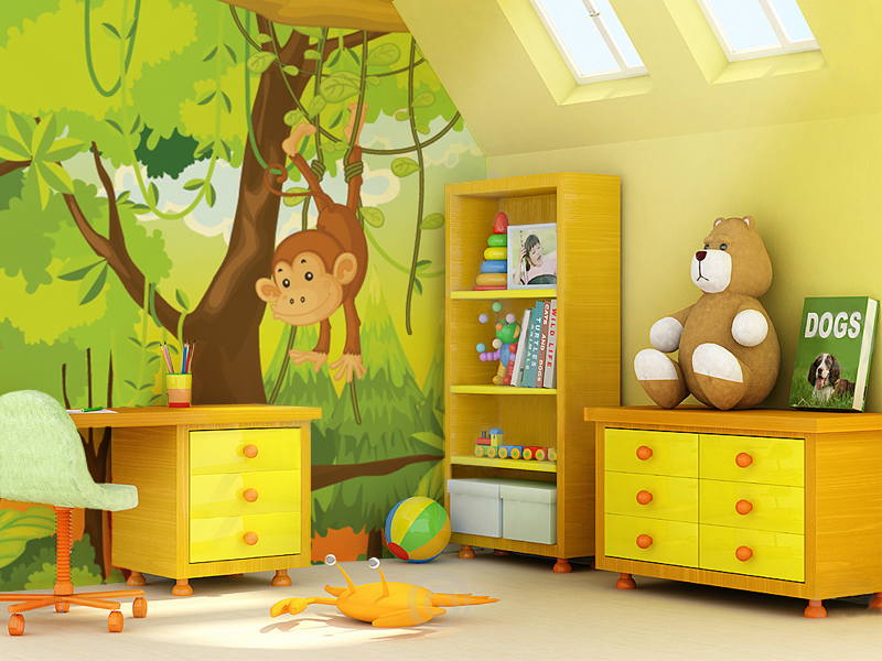Children s wall mural 12 interior design ideas for Childrens mural wallpaper