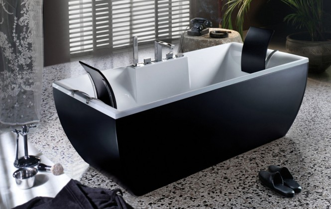 black and white bathtub