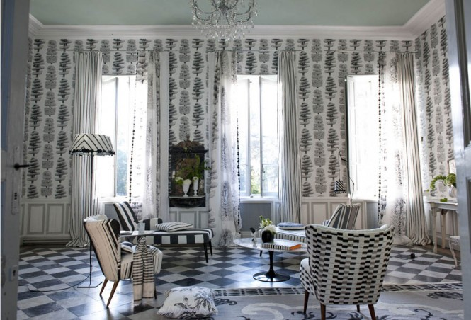 classic black and white room