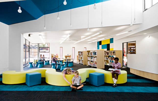 High School Classroom Interior Design ~ Schools with a splash of color