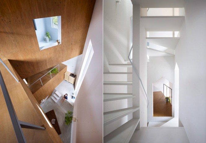 white-wood staircase