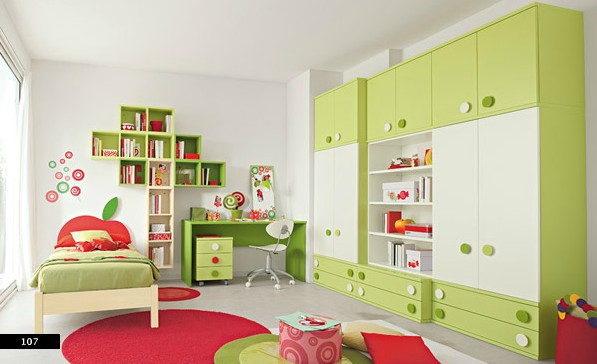 ample colorful storage in kids bedroom