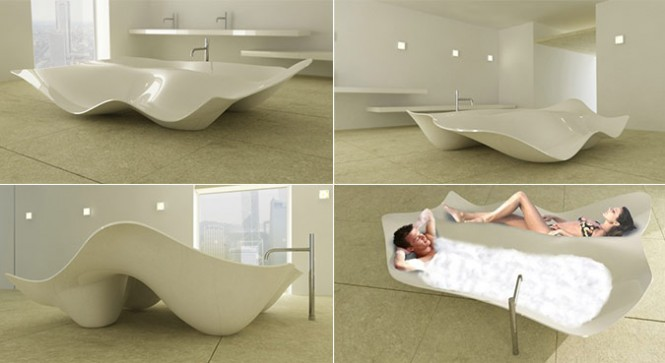 ZAAFDesign has designed this Brezza Bathtub and constructed it out of Corian for Wisdom Sanitary Ware Co., Ltd.. The problem is that of form and function. Who's actually going to sit beside the bather, on Corian? That it looks like a glass of spilling milk suspended in time almost makes up for that major design flaw. [Via]