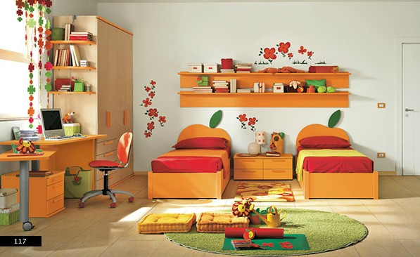 colorful bedroom for twins