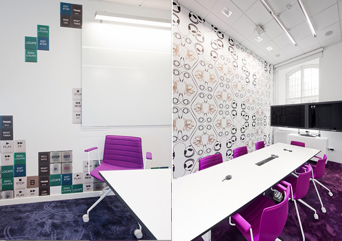 Skype 39 s stockholm office sparks with contrast for Interior design room names