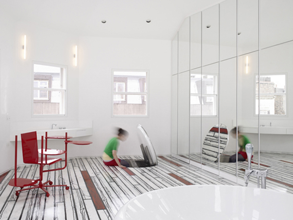 floor leads down the rabbit hole in London fun house | Interior ...