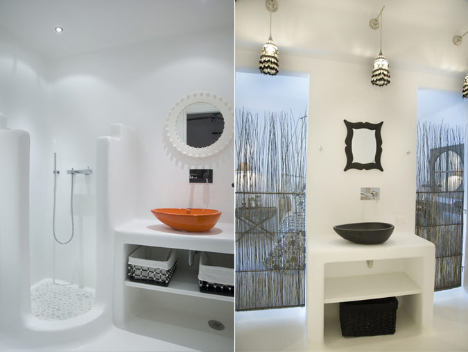 Villa in mykonos for Greek style bathroom design