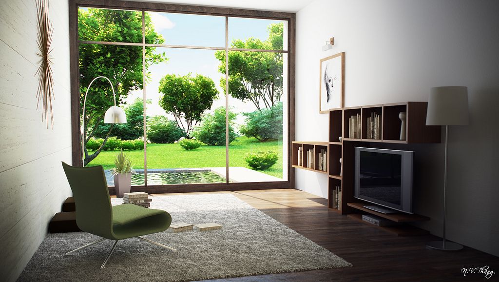 modern room with garden view   Interior Design Ideas