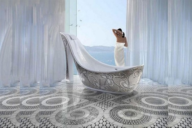 Instead of the little old woman who lived in a shoe you can be the lavish woman who bathed in a shoe. SICIS designed these glass mosaic shoe tubs.