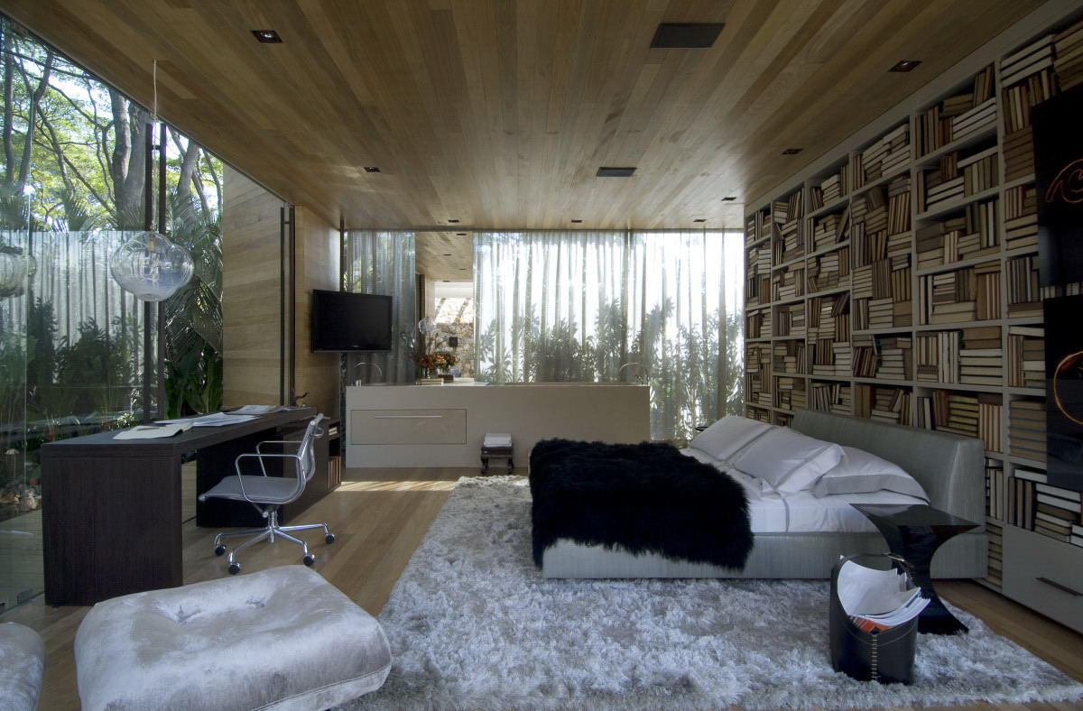 Bedroom with glass walls and wood ceiling interior for Glass ceiling bedroom