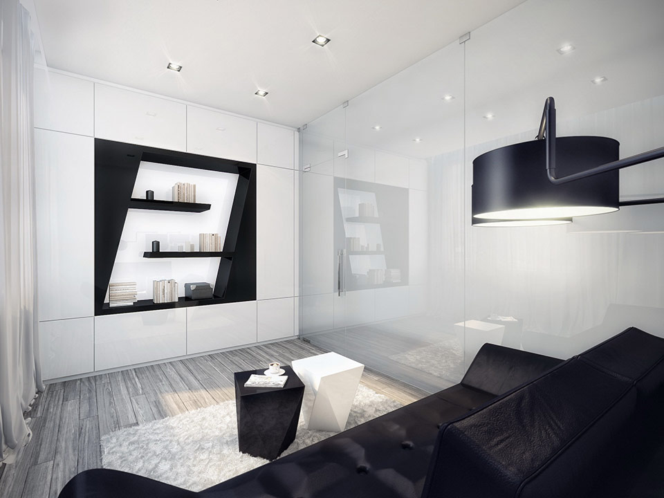Futuristic black and white apartment - Black and white living room ...
