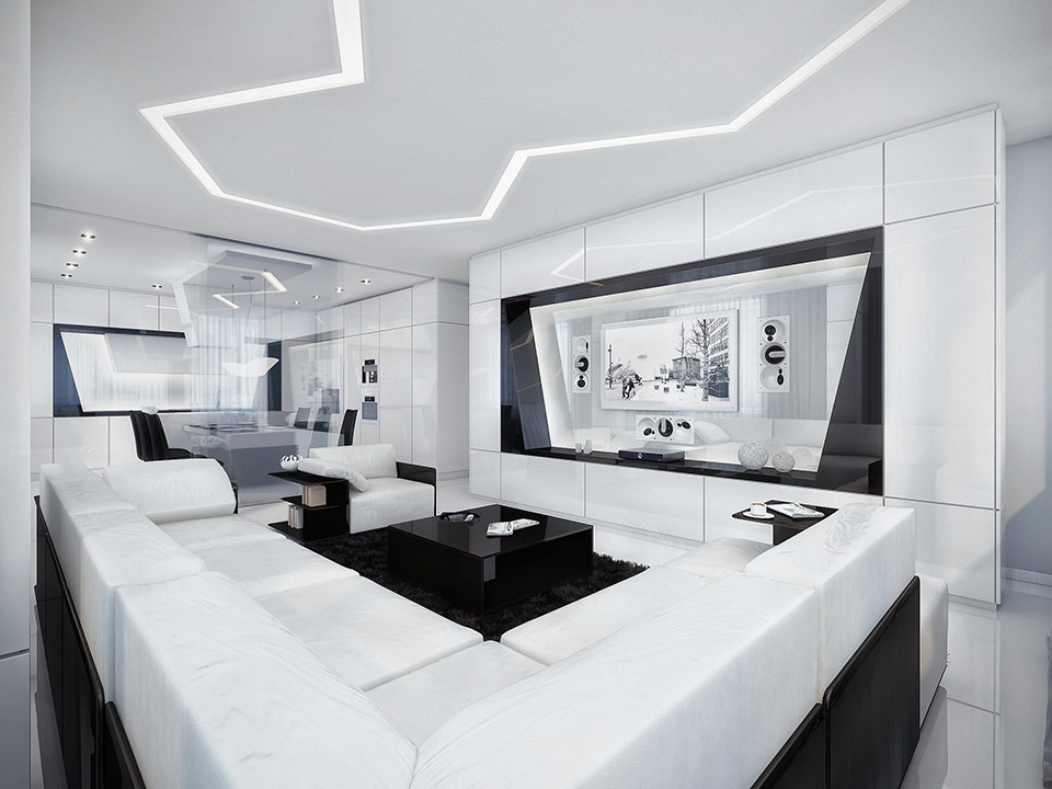 Futuristic black and white apartment White living room