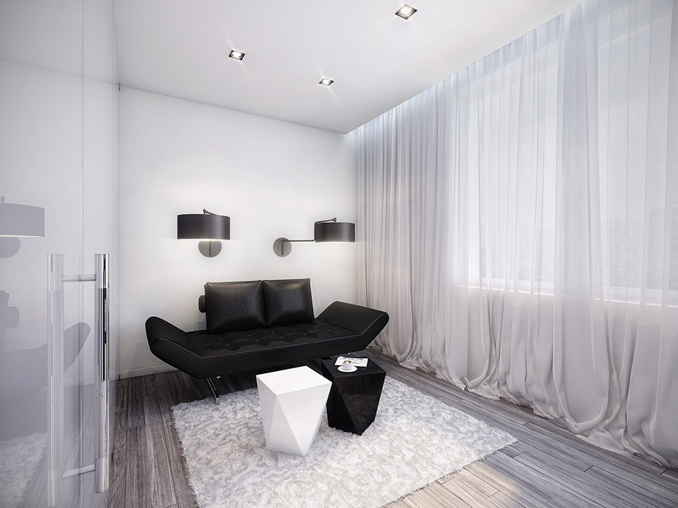 Futuristic Black and White Apartment : black and white room from www.home-designing.com size 960 x 720 jpeg 99kB