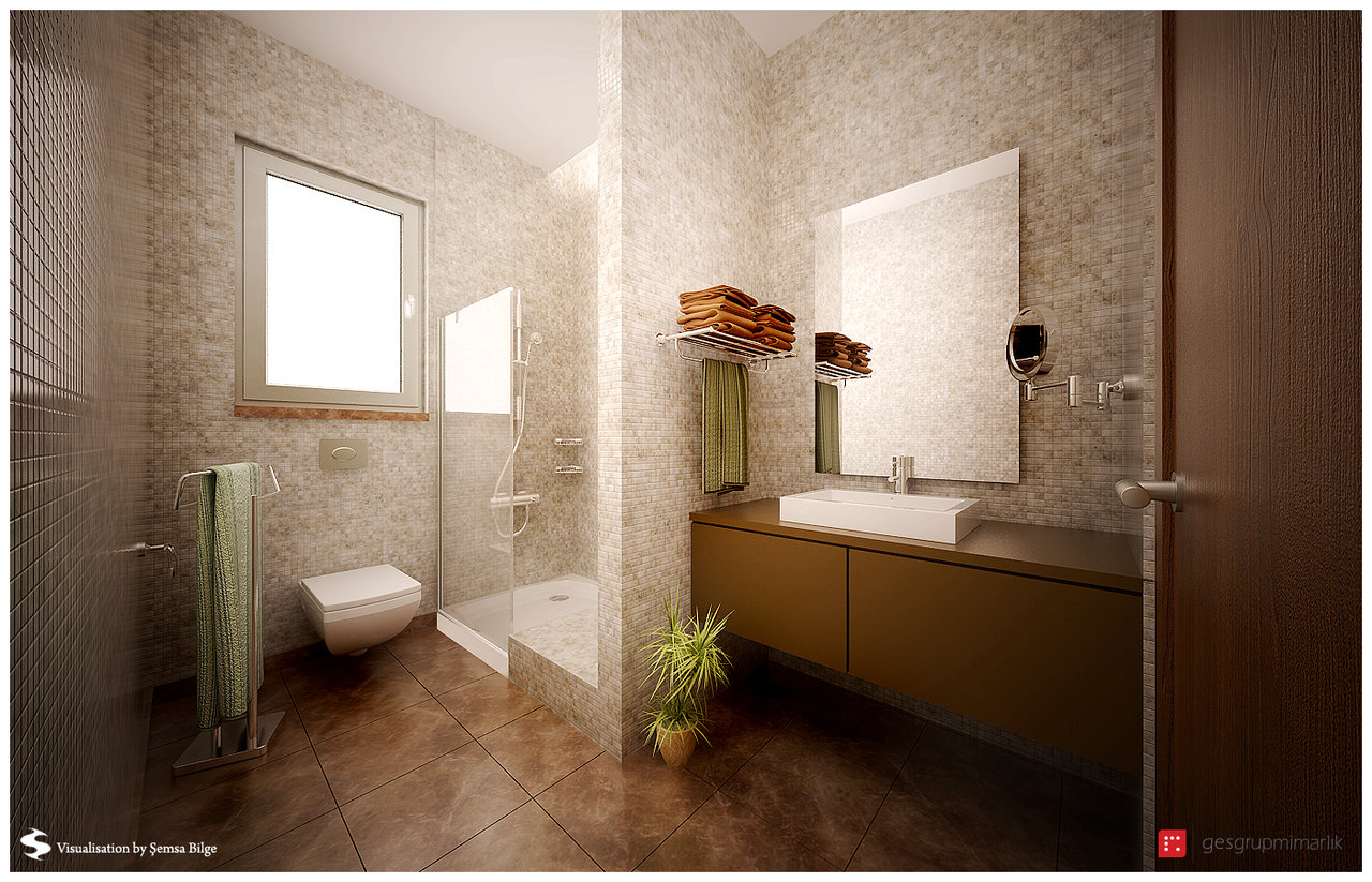 brown and beige mod bathroom