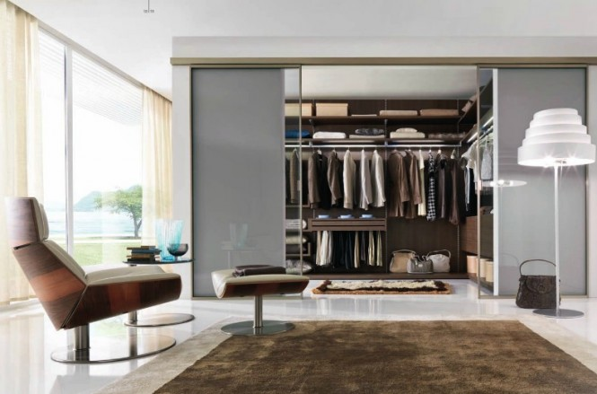 brown and steel closet