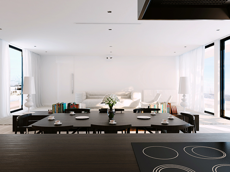 Brown open kitchen and white living area interior design for Living area interior design