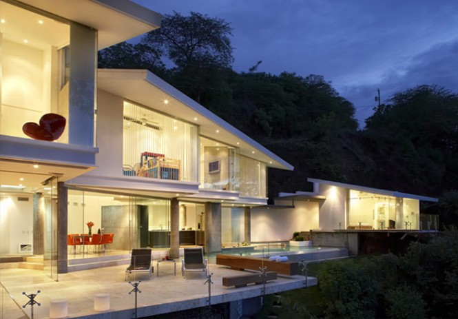 exterior view of large modern house with view of costa rica beach