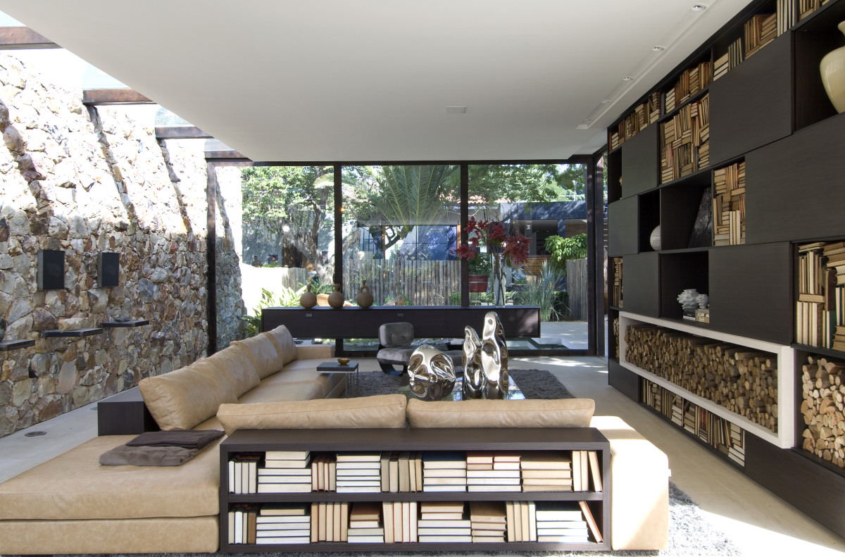Living area with view of yard and stone wall interior for Living area interior design