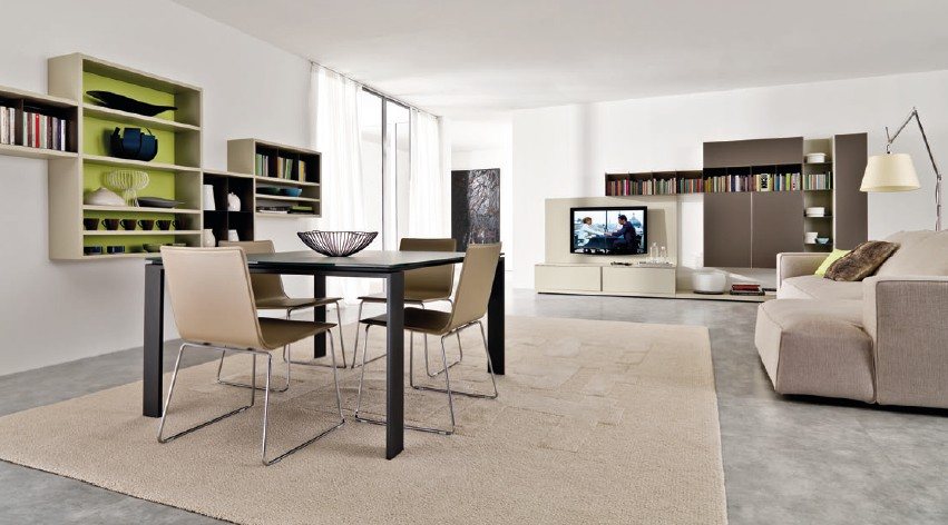 Flowing open interiors from euromobil A sleek apartment the divides rooms creatively