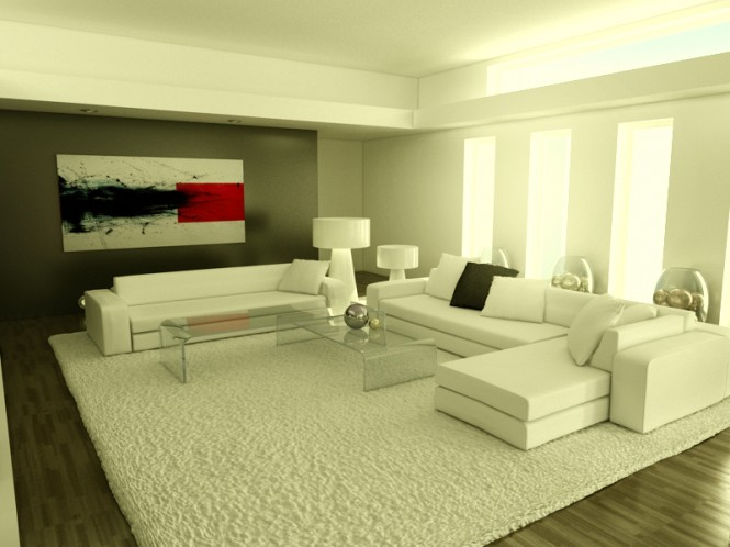 If you like monochromatic, this modern, nearly all white living room may be a good option for you.
