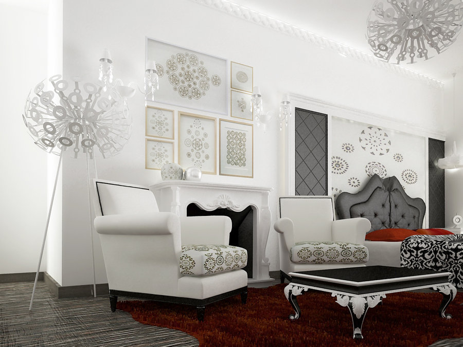 Modern living rooms for Salon baroque moderne