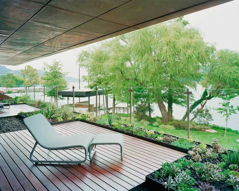 modern and green balcony with lake view : Interior Design Ideas.