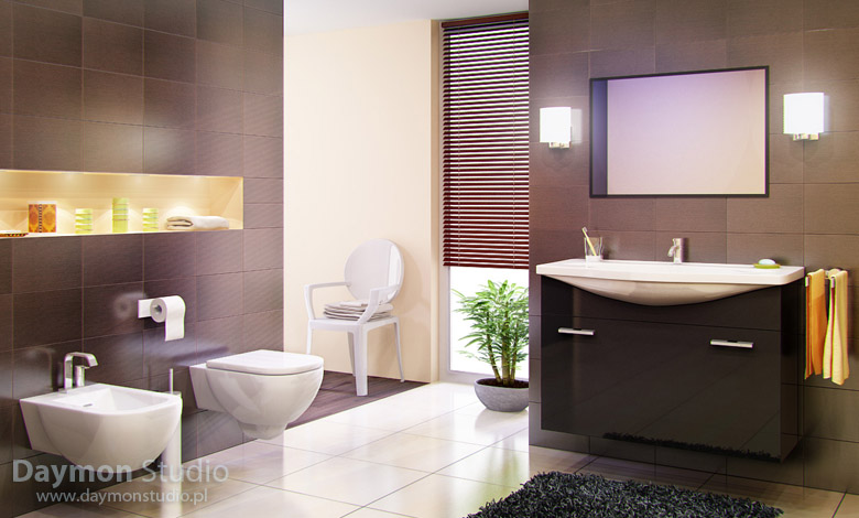 Modern bathroom with brown tiles interior design ideas for Brown bathroom designs