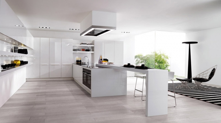 Flowing open interiors from euromobil for Open kitchen designs photo gallery