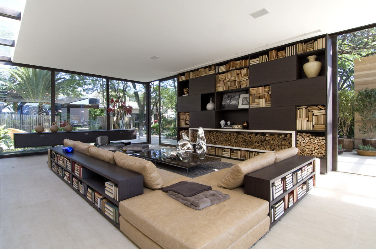 Outdoor Indoor Living Room With Bookshelves Interior