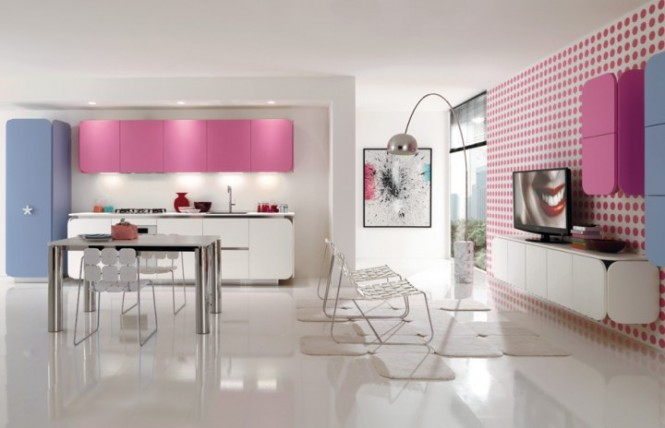 pink blue kitchen living