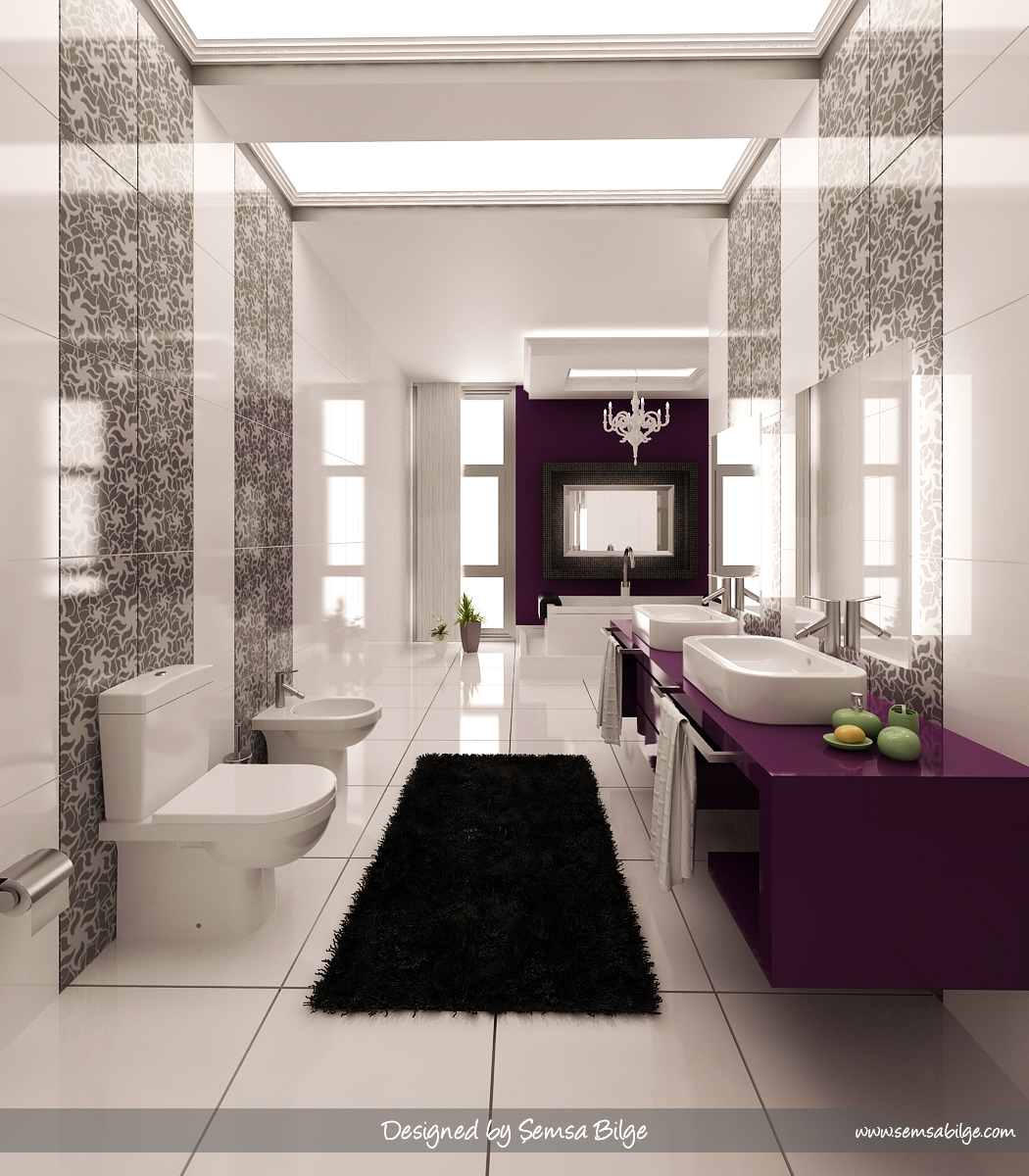 Purple black and white graphic print bathroom interior design ideas Purple and black bathroom ideas