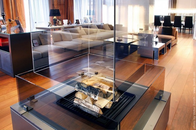 transparent fireplace