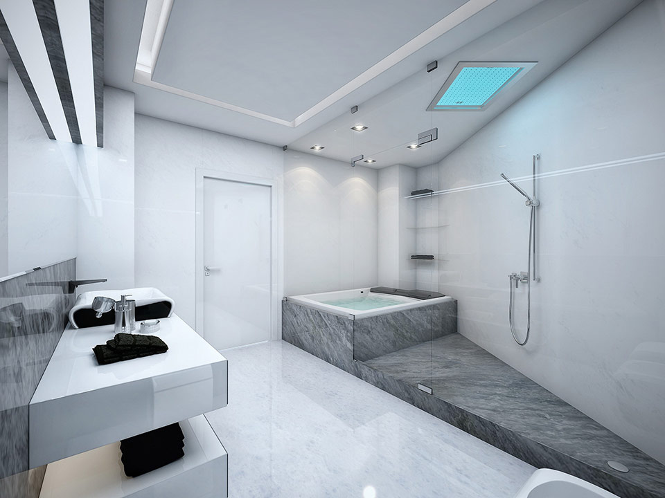 Bathroom Design Grey And White White And Grey Marble Bathroom Complete With A Glass Paneled Jacuzzi
