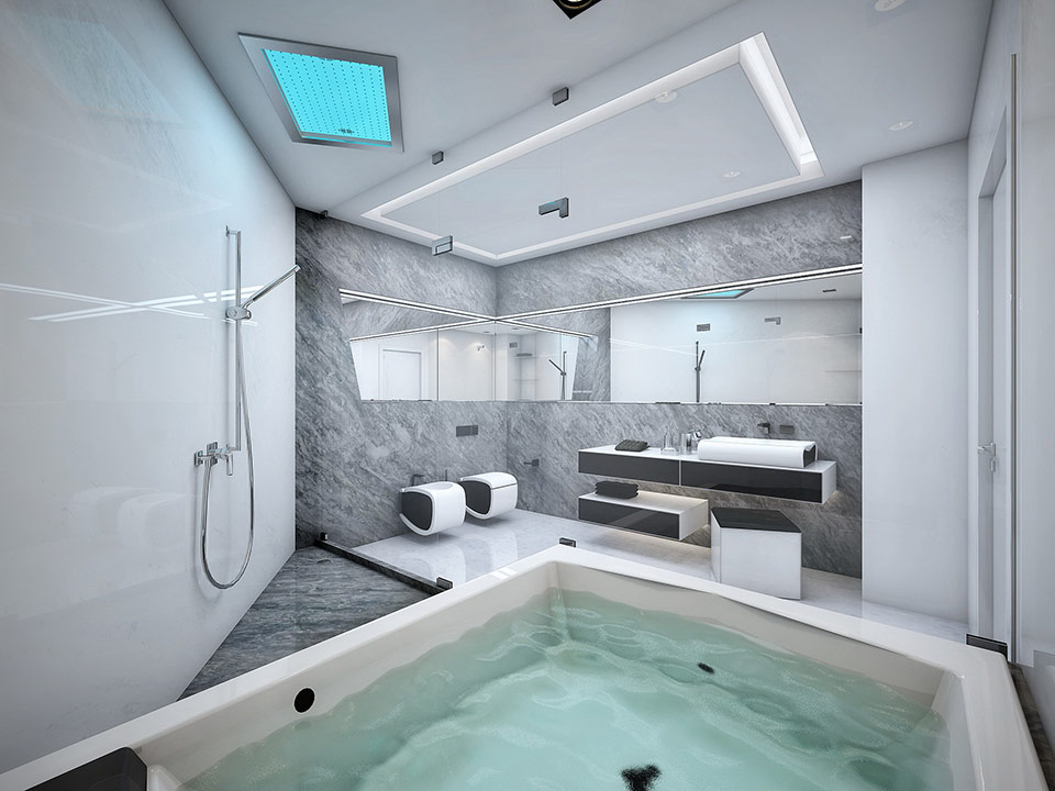Futuristic black and white apartment Interior design for apartment bathroom
