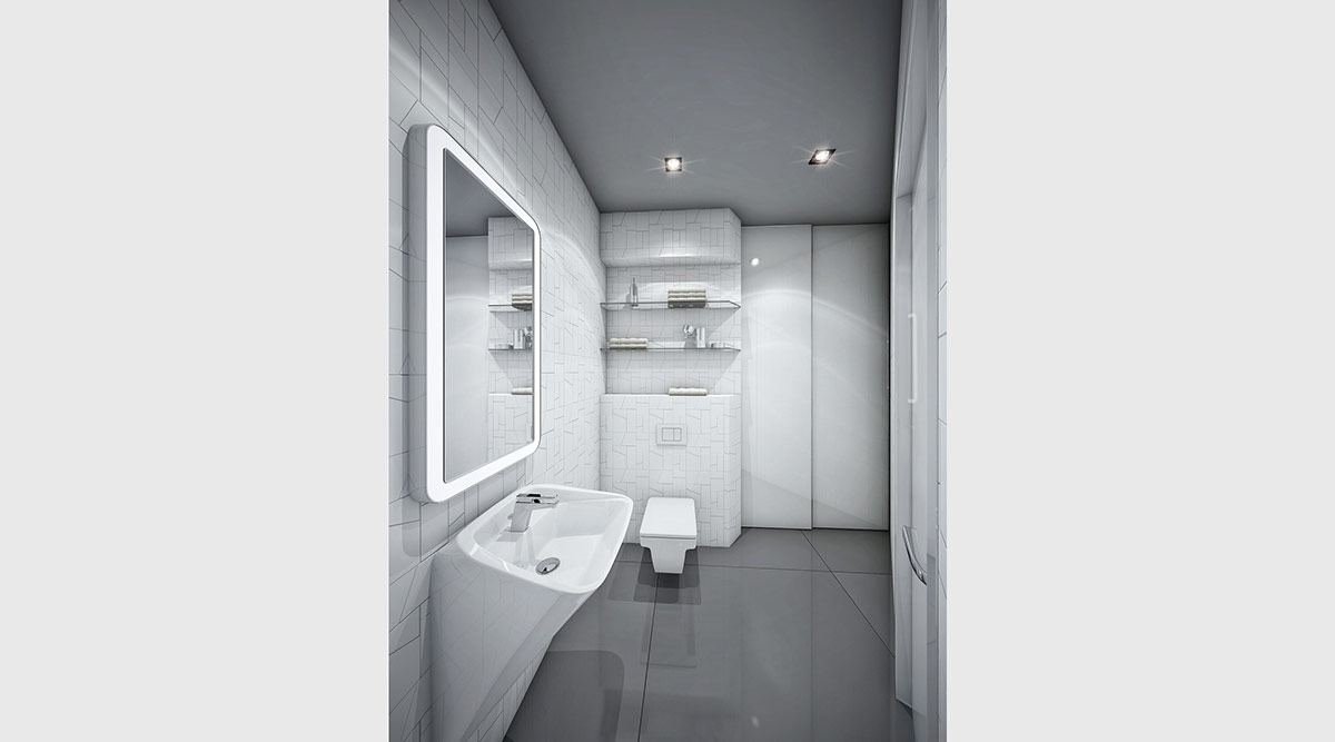 Bathroom Design Grey And White Futuristic Black And White Apartment