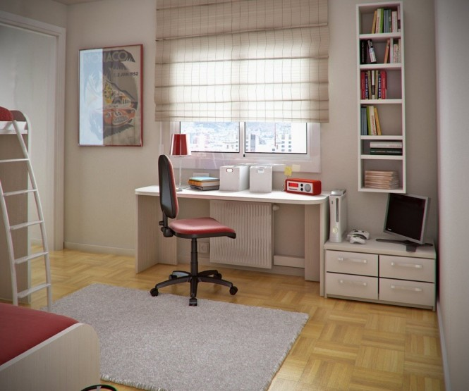 A clean space, devoid of clutter or extra unecessary things, makes this a space that is easy to focus in. The furniture is simple, sturdy, and white--with only a few pops of red, but no overwhelming use of color. This seems like the ideal workspace for a high school or even college student.